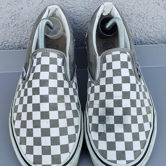 Vans Checkerboard Light Grey Slip On